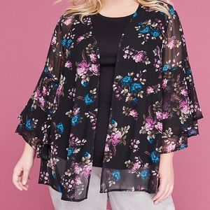 Floral ruffle overpiece